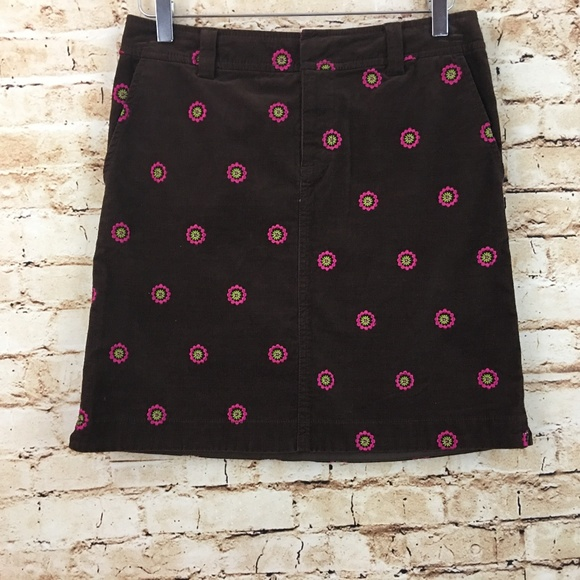 3c65624be3196a Lilly Pulitzer Skirts | Corduroy Brown Flower Embroidered | Poshmark